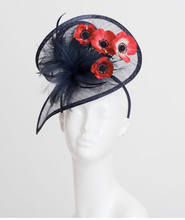 Load image into Gallery viewer, NAVY POPPY FASCINATOR