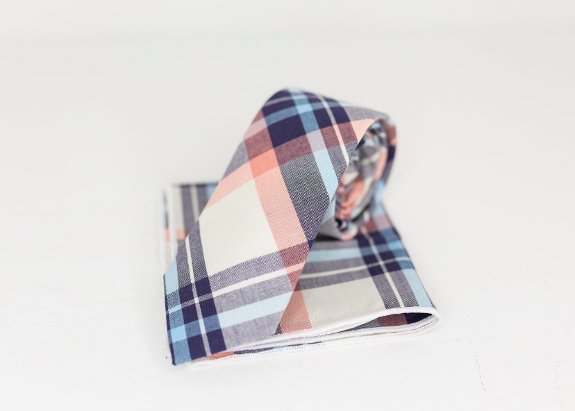 PASTEL PINK PLAID NECK TIE