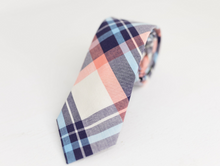 Load image into Gallery viewer, PASTEL PINK PLAID NECK TIE