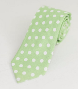 PASTEL GREEN POLKA DOT NECK TIE