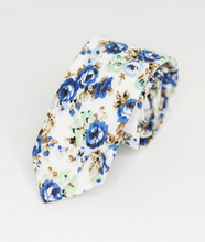 Load image into Gallery viewer, ROYAL BLUE FLORAL NECK TIE