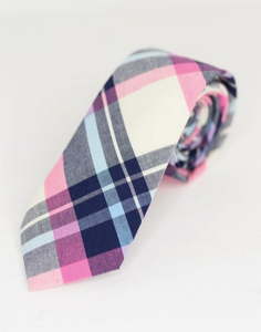 PINK AND BLUE PLAID NECK TIE