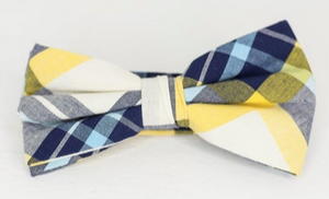 YELLOW AND BLUE PLAID BOW TIE