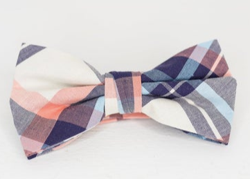 PASTEL PINK PLAID BOW TIE