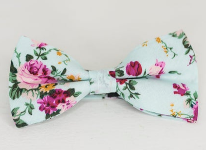 PINK ROSE FLORAL BOW TIE