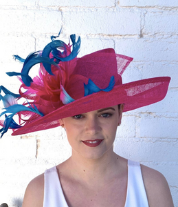 Fuchsia Pink Derby Hat w/ Fuchsia and Turquoise Feather Curls