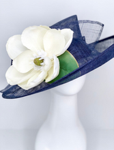 Load image into Gallery viewer, NAVY BLUE & MAGNOLIA DERBY HAT