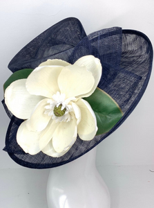 NAVY BLUE & MAGNOLIA DERBY HAT