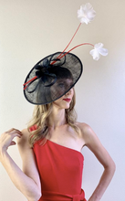 Load image into Gallery viewer, BLACK FASCINATOR w/ RED & WHITE ACCENTS