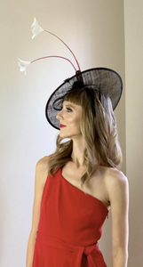 BLACK FASCINATOR w/ RED & WHITE ACCENTS