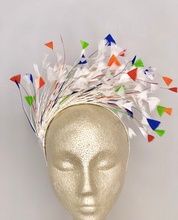 Load image into Gallery viewer, WHITE RAINBOW FEATHER FASCINATOR