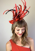 Load image into Gallery viewer, RED CARDINAL FASCINATOR