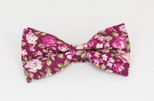 Load image into Gallery viewer, BURGUNDY FLORAL BOW TIE