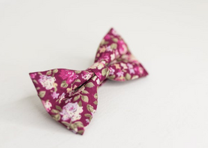 BURGUNDY FLORAL BOW TIE