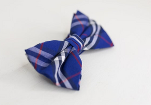 ROYAL BLUE RED AND WHITE PLAID BOW TIE