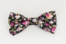 Load image into Gallery viewer, BLACK FLORAL ROSE BOW TIE