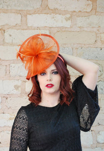 Burnt Orange Fascinator, Women's Tea Party Hat, Church Hat, Derby Hat, Fancy Hat, Orange Hat, Tea Party Hat, wedding hat