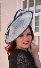 Load image into Gallery viewer, large White & Black Fascinator Derby Hat, Womens Tea Party Hat, Church Hat, Derby Hat, Fancy Hat, Ivory Hat, Tea Party Hat, wedding hat
