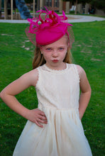 Load image into Gallery viewer, Little Girl's Hot Pink Fascinator with Veil