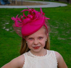 Little Girl's Hot Pink Fascinator with Veil