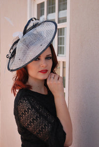 large White & Black Fascinator Derby Hat, Womens Tea Party Hat, Church Hat, Derby Hat, Fancy Hat, Ivory Hat, Tea Party Hat, wedding hat