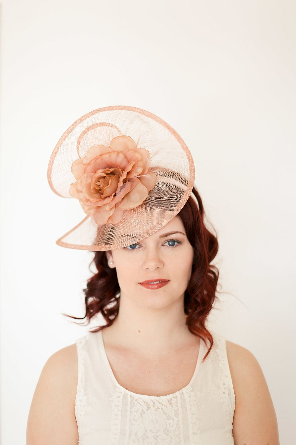 Nude Pink Beige Fascinator, Tea Party Hat, Church Hat, Kentucky Derby Hat, Fancy Hat, Beige Hat, Tea Party Hat, wedding hat, womens hat
