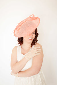 Coral Fascinator Derby Hat, Tea Party Hat, Church Hat, Derby Hat, Fancy Hat, Tea Party Hat, wedding hat