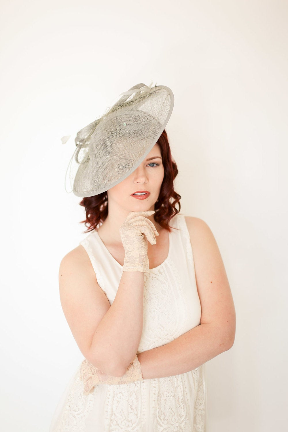 Gray Fascinator, Kentucky Derby Hat, Tea Party Hat, Church Hat, Derby Hat, Fancy Hat, Royal Hat, Tea Party Hat, wedding hat