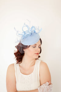 Fascinator With Veil, Baby Blue Fascinator, Tea Party Hat for women, Light Blue Kentucky Derby Hat, Fancy Hat, wedding hat for bride,