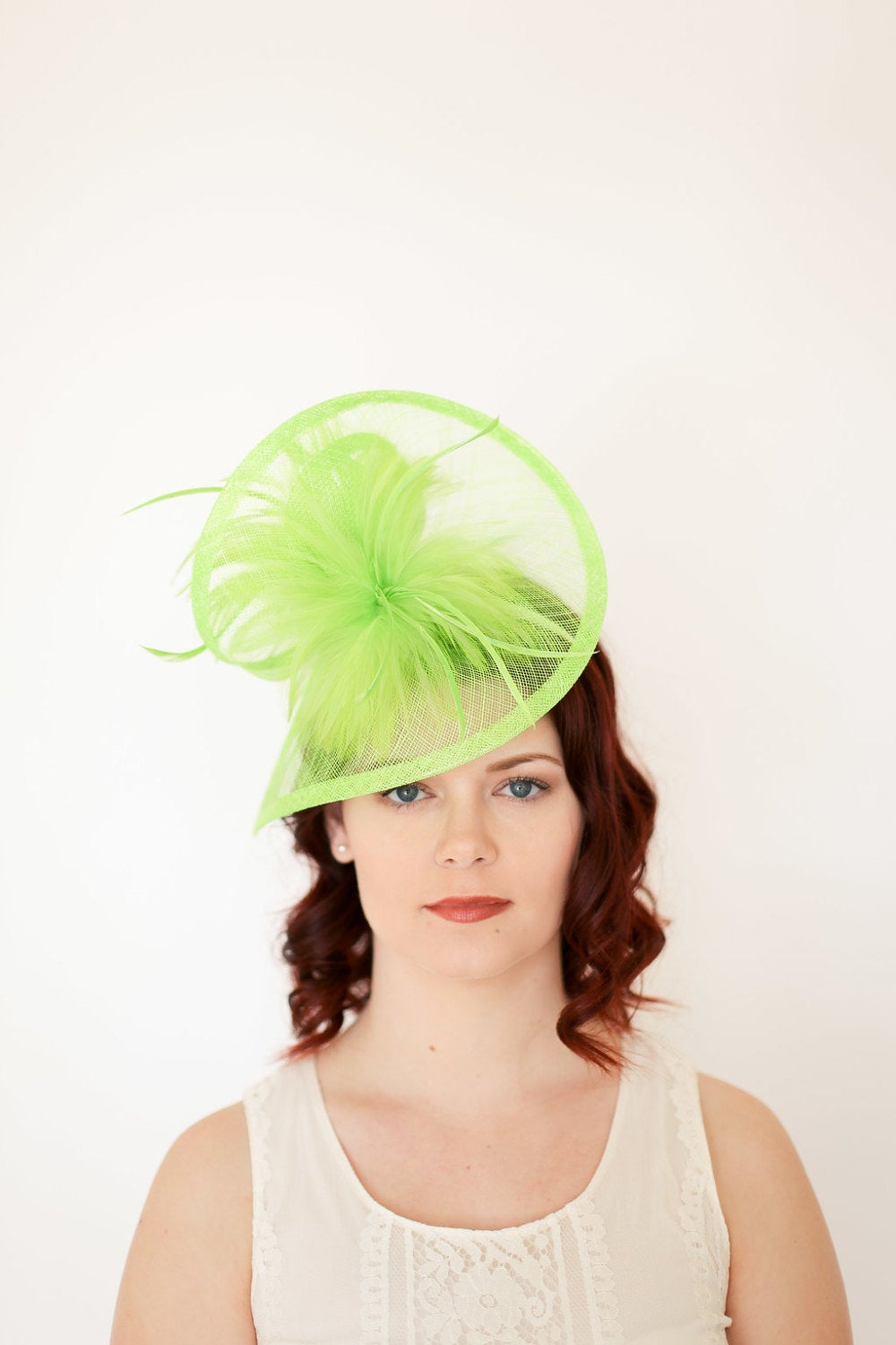 Neon Green Fascinator, Womens Tea Party Hat, Church Hat, Derby Hat, Fancy Hat, Silver Hat, Tea Party Hat, wedding hat