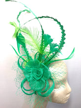 Load image into Gallery viewer, St. Patricks Day Fascinator, Green Fascinator with lime green accent feathers  Tea Party Hat, St. Pattys Day, Derby Hat, Fancy Hat, Kelly Gr