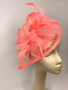 Coral Pink Fascinator, Tea Party Hat, Church Hat, Derby Hat, Fancy Hat, Pink Hat, Tea Party Hat, wedding hat, Coral Facinator, Coral Hat