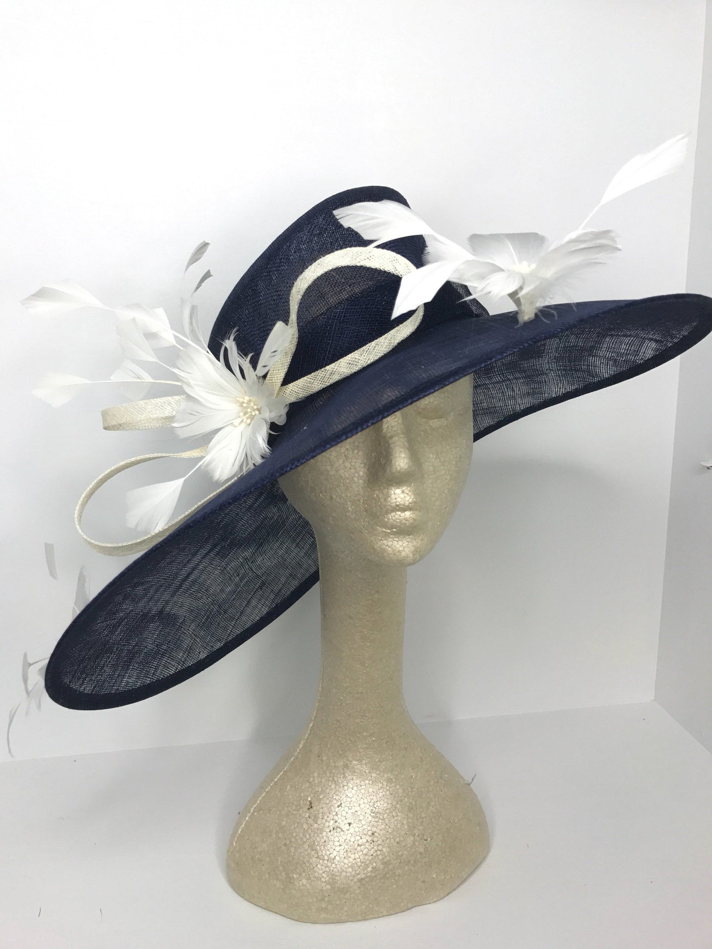 Navy & Ivory Derby Hat