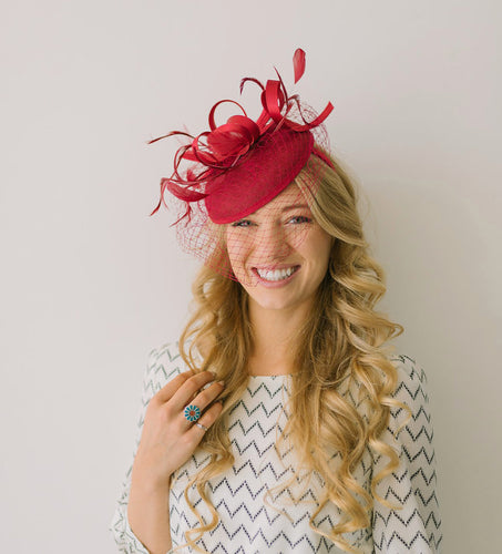 Maroon Fascinator with Veil, Tea Party Hat, Church Hat, Kentucky Derby Hat, Fancy Hat, British Hat, Wedding Fascinator, womens hat