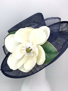 THH009 Navy Blue Magnolia Derby Hat