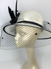 Load image into Gallery viewer, large Black and Ivory Derby Hat with veil  Womens Tea Party Hat