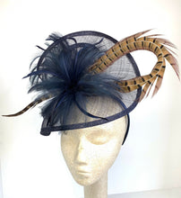 Load image into Gallery viewer, THH004 Navy Blue Fascinator with pheasant feather