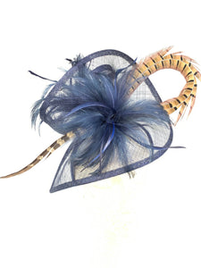 THH004 Navy Blue Fascinator with pheasant feather