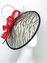 Load image into Gallery viewer, THH014 Black Red & White Zebra large Fascinator Derby Hat, Womens Tea Party Hat, Derby Hat, Fancy Hat, Tea Party Hat, wedding hat THH014