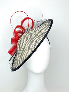THH014 Black Red & White Zebra large Fascinator Derby Hat, Womens Tea Party Hat, Derby Hat, Fancy Hat, Tea Party Hat, wedding hat THH014