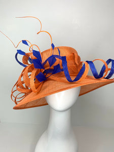 THH015 Orange and Royal Blue Derby Hat