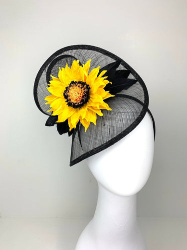 Black Sunflower Fascinator, Black Hat, Sunflower Hat, Womens Tea Party Hat, Church Hat, Kentucky Derby Hat, Fancy Hat, yellow