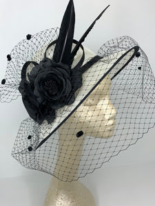large Black and Ivory Derby Hat with veil  Womens Tea Party Hat