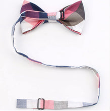 Load image into Gallery viewer, Blue and White Plaid Bow Tie