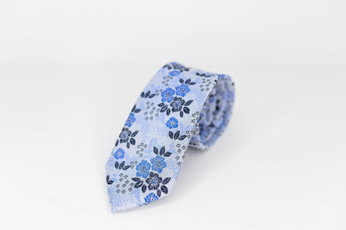 Blue Floral Silk Neck Tie