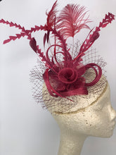 Load image into Gallery viewer, Merlot Maroon Fascinator, Womens Tea Party Hat, Church Hat, Derby Hat, Fancy Hat, Bachelorette Hat, Tea Party Hat, wedding hat