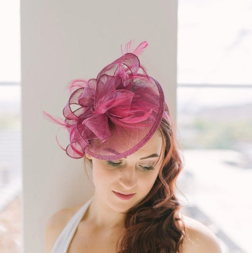 The Kenni Merlot Maroon Fascinator, Women's Tea Party Hat, Church Hat, Derby Hat, Fancy Hat, maroon  Hat, Tea Party Hat, wedding hat