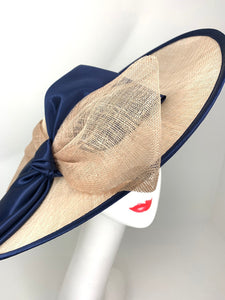 Navy and tan Sinamay Derby Hat