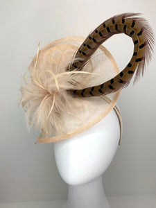 Nude Fascinator with pheasant feather adornment, Tea Party Hat, Church Hat, Derby Hat, Fancy Hat, Ivory Hat, wedding hat, British Hat, Breed