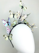Load image into Gallery viewer, Shades of Green and Blue Butterfly Fascinator, butterfly hat, Tea Party Hat, Church Hat, Derby Hat, Fancy Hat, Pink Hat, Tea Party